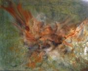 tableau abstrait abstrait poudre de micaresin orange brun : Sémélé