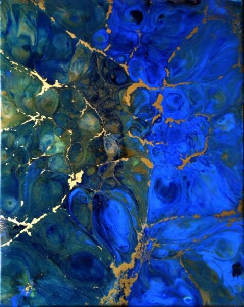 TABLEAU PEINTURE résine poudres de mica,pigm toile sur châssis bleu,turquoise,or Abstrait  - Théia