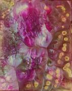 tableau abstrait abstrait resine pigments nacres rose : Bélisama