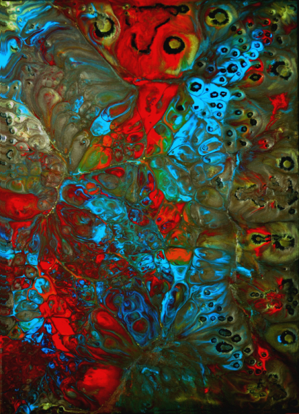 PAINTING abstrait toile sur châssis résine pigments Abstrait  - Kronos
