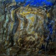 tableau abstrait abstrait resine pigments or : Esus