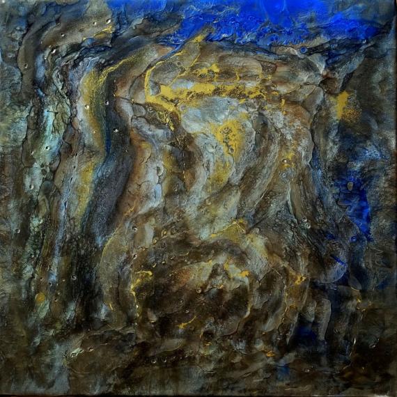 TABLEAU PEINTURE abstrait résine pigments or Abstrait  - Esus