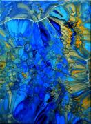 tableau abstrait abstrait resine pigments bleu : Déméter