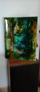 tableau abstrait abstrait resine pigments chassis entoile : Bélénos