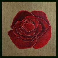 Rose rouge sur Lin