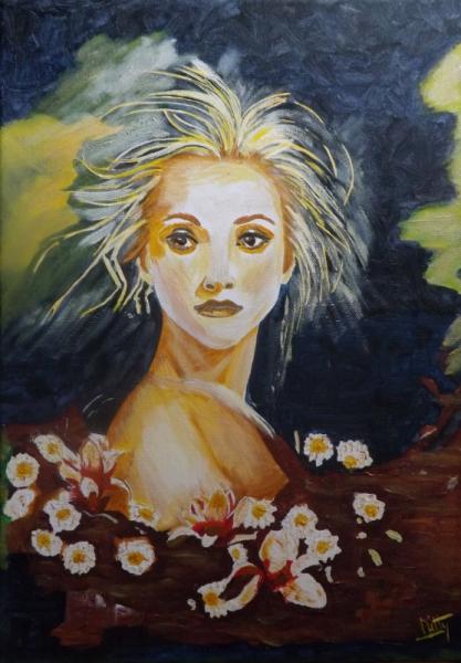 TABLEAU PEINTURE femme fleurs visage attitude Personnages Acrylique  - L'ingénue