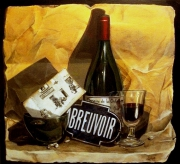 tableau trompe l oeil vin bouteille nature morte : Abreuvoir