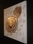 tableau fleurs rose reliefs argent : FLORAL''/VENDU