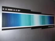 tableau abstrait abstrait moderne bleu degrade : VOYAGE vendu
