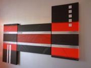 tableau abstrait argent rouge noir moderne : LE ROUGE ET LE NOIR/VENDU