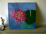 tableau fleurs nature : lotus en voyage