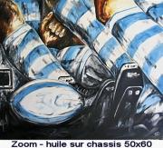 tableau sport rugby ballon melee : zoom bleu