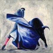 tableau autres peinture corrida tauromachie taureau : Passe corrida