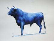 tableau autres corrida peinture bleu tauromachie : Novillo de Jaral