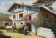 tableau scene de genre ferme basque ,a st pee attelage de boeufs : Ferme Xapelenea