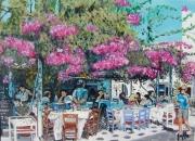 tableau paysages terrasse hotelrestaurant mykonos grece : La terrasse du Pélikan à Mykonos