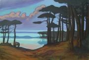 tableau paysages paysage landes au crepuscule sourgen : L'étang blanc