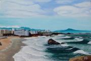 tableau paysages biarritz ocean agite pays basque vue du phare : La mer qu'on voit danser