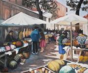 tableau scene de genre pays basque st jean de luz scenes de marche aux d apres floutie : Le marché aux fleurs à St Jean de Luz