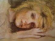 tableau personnages jeune fille allongee sur le sable reveuse : Sur le sable abandonnée