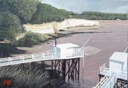 tableau paysages estuaire de la giron pecheries au carrele charentes maritimes suzac : La pointe de Suzac