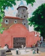 tableau scene de genre ainhoa le fronton pays basque roganeau : Le fronton d'Ainhoa