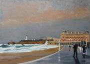 tableau marine biarritz grand plage hotel du palais pays basque moment crepusculaire : La Grand Plage de Biarritz par une marée de 115