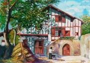 tableau paysages ferme urrugne pays basque floutier : La ferme à Urrugne