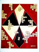 tableau abstrait puzzle symetrie relief or : puzzle