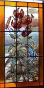 ceramique verre scene de genre vitrail vitraux lys jeux : Le Martin Pêcheur