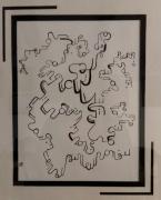 tableau abstrait macron trompe encre de chine abstrait : TROMPERIE