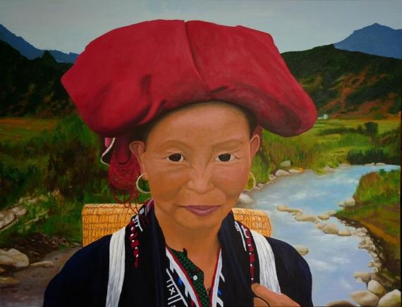 TABLEAU PEINTURE dao femme vietnam chjine Personnages Acrylique  - Femme Dao