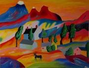 tableau paysages paysage buccolique naif acrylique : Paysage buccolique