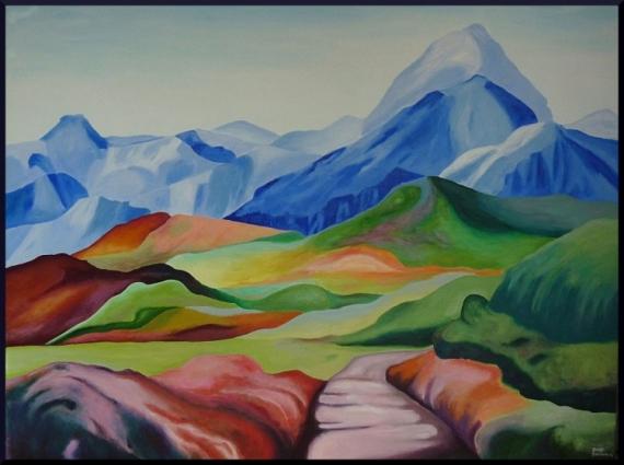 TABLEAU PEINTURE - - - - Paysages Acrylique  - Alpen
