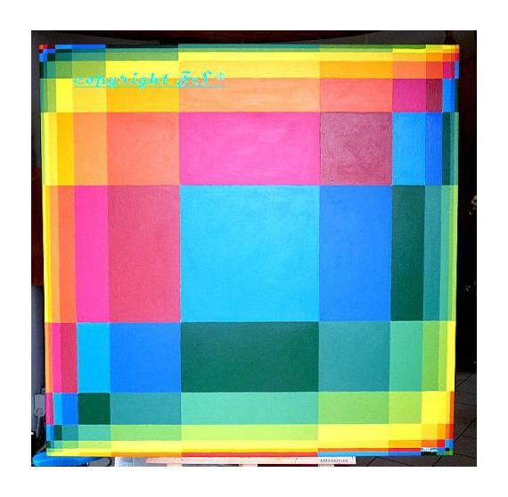 TABLEAU PEINTURE distorsions multicolore géométrique zippy-shawn Abstrait Acrylique  - Distorsions