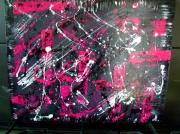 tableau abstrait : Tendre rose