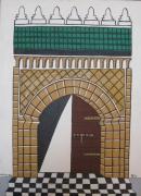 tableau architecture clef couvre lit drap couverture : porte