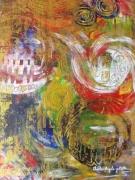 tableau abstrait abstrait coloree intriguant : Émotion profonde