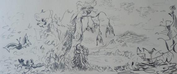 DESSIN Crayon  - Pays-sage