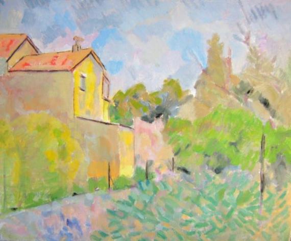 TABLEAU PEINTURE provence impressionisme jardin village Paysages Peinture a l'huile  - la villa de Bel air