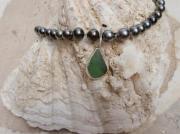 bijoux collier perle de tahiti sea glass argent : LE CLASSIQUE