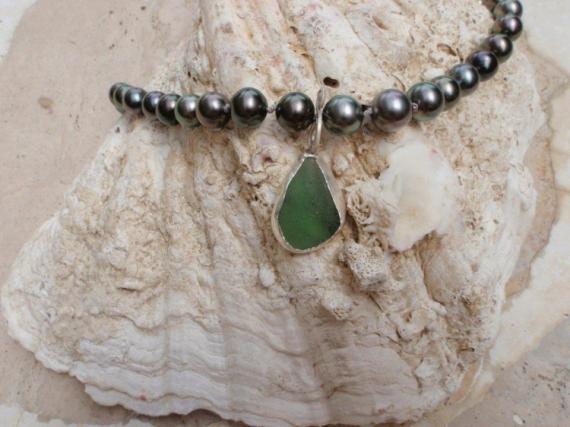 BIJOUX collier perle de tahiti sea glass argent  - LE CLASSIQUE