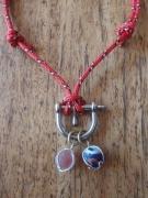 bijoux collier perle de tahiti sea glass cordelette marine : ORAGE