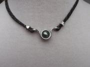 bijoux collier perle de tahiti cordelette marine : HORIZON