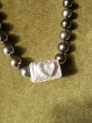 "bijoux collier argent perles tahiti sea glass : ""Coeur de Perles"