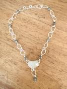 bijoux collier argent perles de tahiti seaglass : COEURS en FOLIE