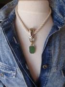 bijoux marine collier perle de tahiti sea glass mousqueton : PACHA