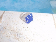 bijoux bague seaglass argent : BLEU PERLEE