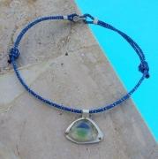 bijoux marine collier sea glass cordelette marine argent : VOILE BLEUE