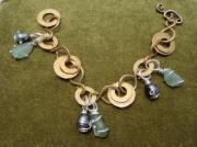 artisanat dart bracelet perle de tahiti sea glass argent : DANCING CIRCLES